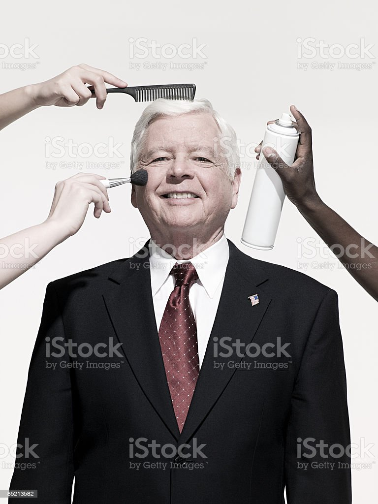 Politician being prepared stock photo