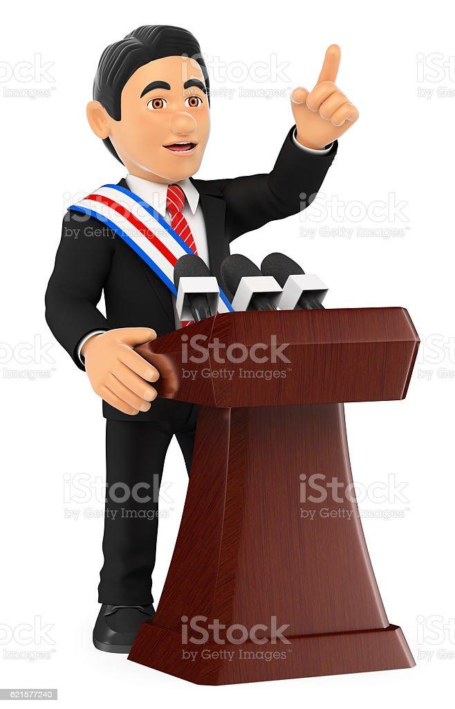 3D Politician giving a speech of investiture. President photo libre de droits