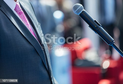 854811490 istock photo Politician giving speech 1071139328
