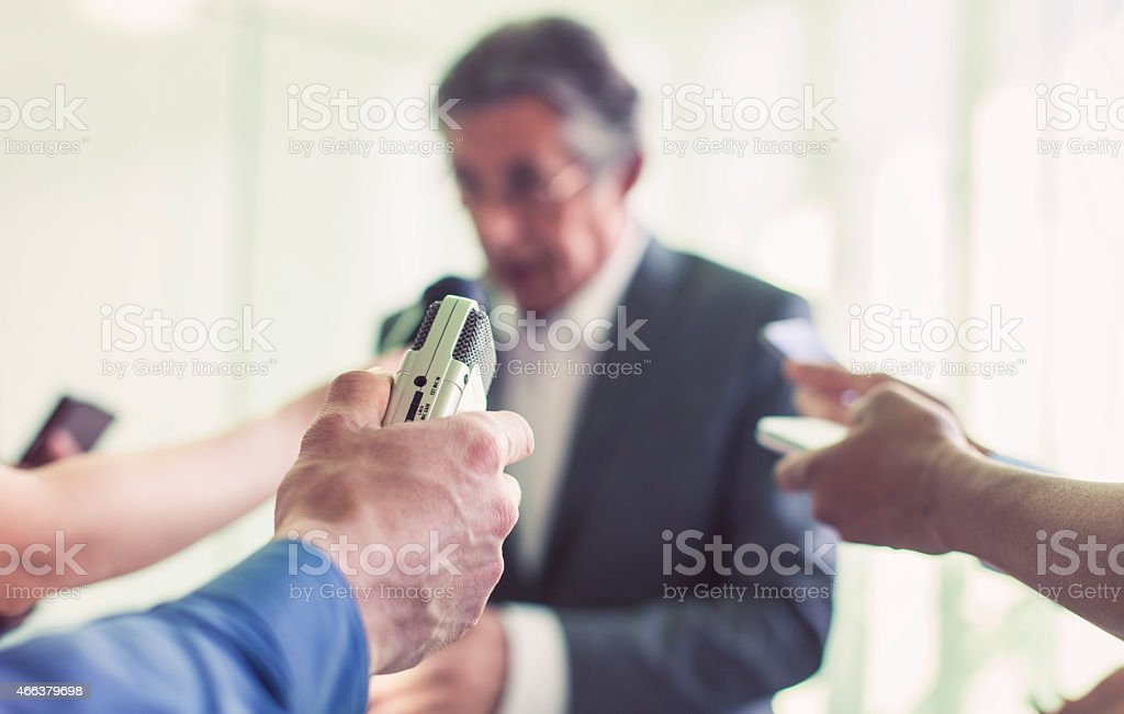 Politician holding a press conference stock photo