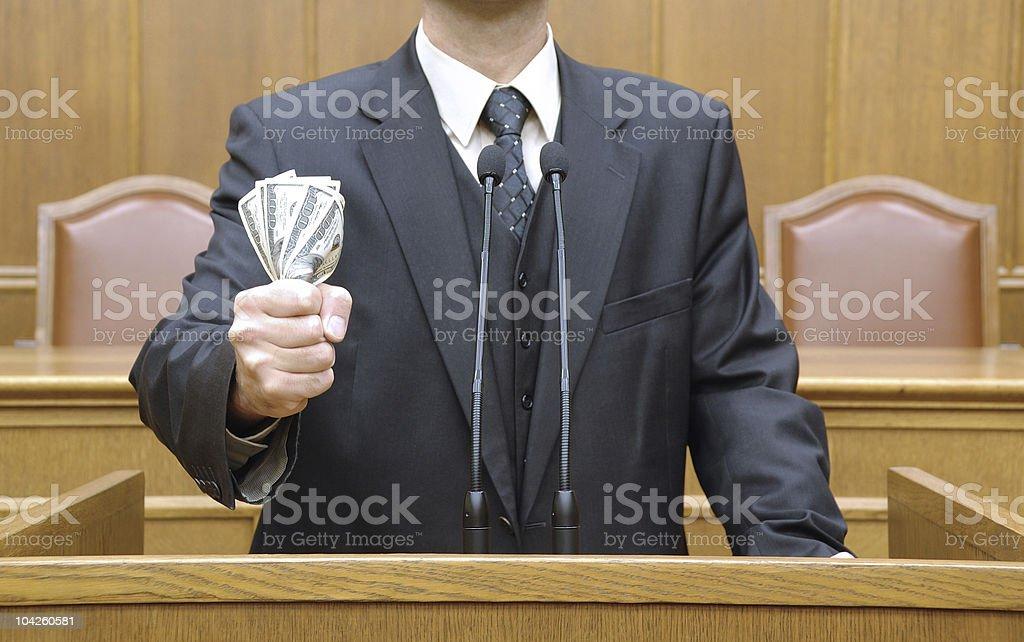 Politician holding money stock photo