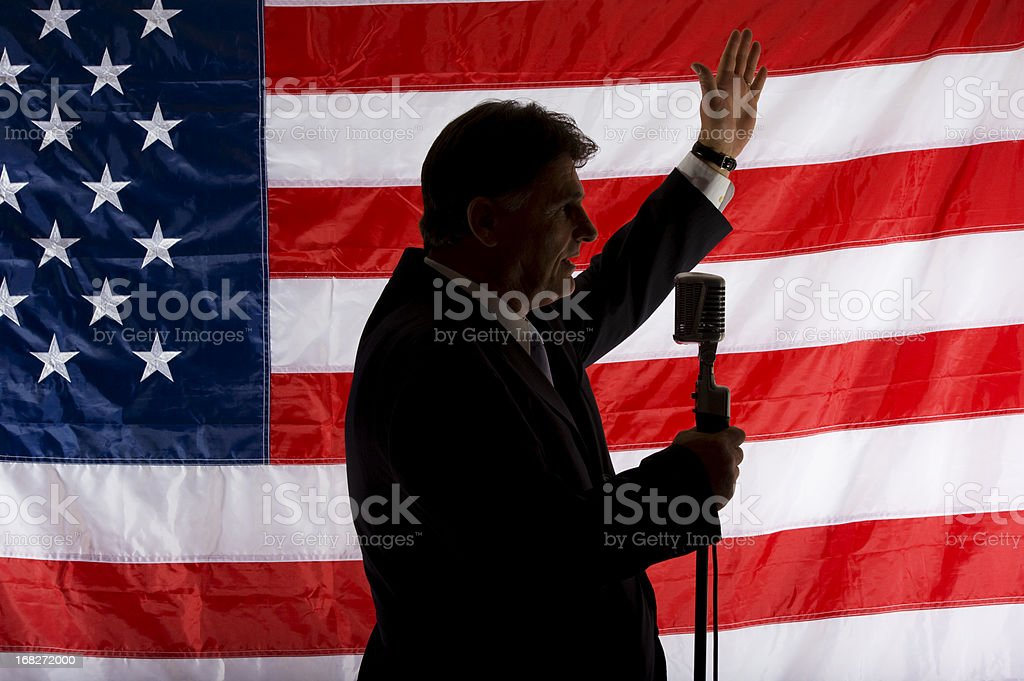 Politician waving in silhouette royalty-free stock photo