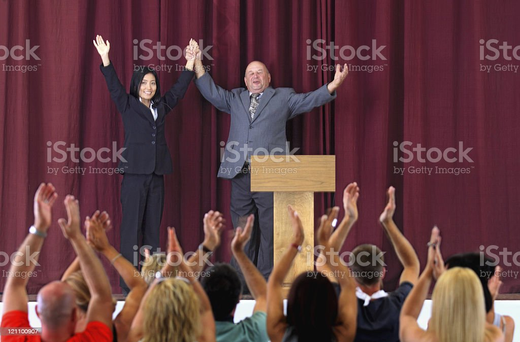 Politicians after a speech royalty-free stock photo