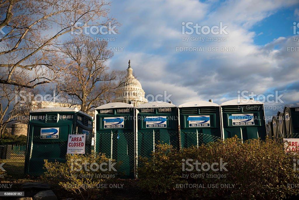 Politics at port-a-potties in Washington DC stock photo