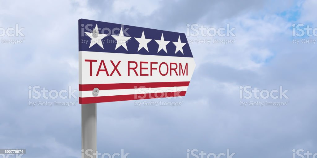 USA Politics Concept: Tax Reform Direction Sign With US Flag, 3d illustration against cloudy sky stock photo
