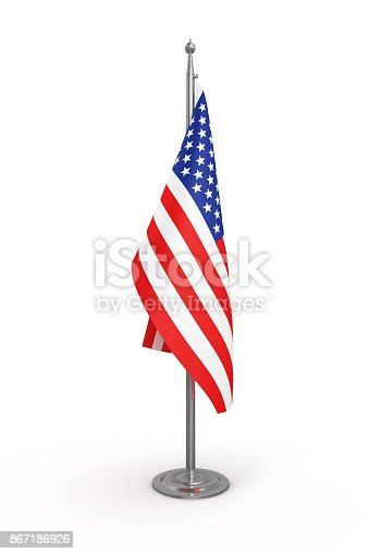 Politics Flag of America (USA) - Isolated White Background-Clipping Path