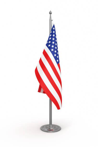politik-flagge von amerika (usa) - isolierten weißen hintergrund-clipping-pfad - pfosten stock-fotos und bilder
