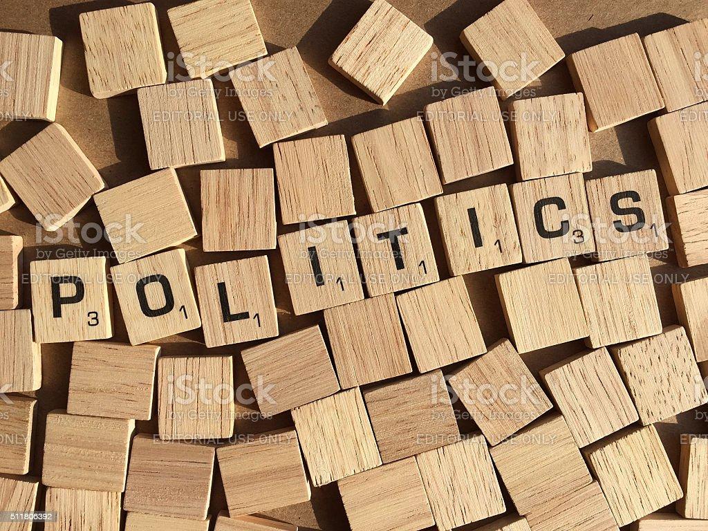 Politics in Scrabble Letters stock photo