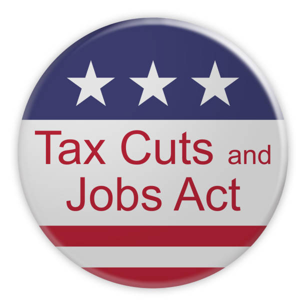 USA Politics News Badge: Tax Cuts And Jobs Act Button With US Flag, 3d illustration isolated on white background stock photo