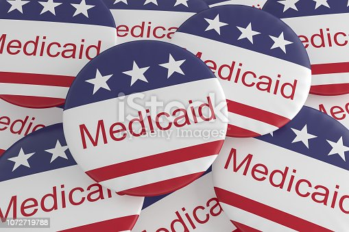 istock USA Politics News Badges: Pile of Medicaid Buttons With US Flag 1072719788