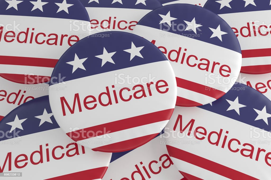 USA Politics News Badges: Pile of Medicare Buttons With US Flag, 3d illustration stock photo