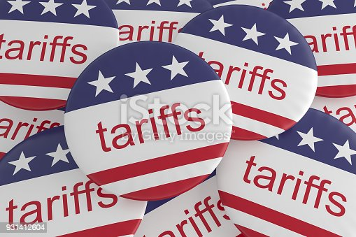 istock USA Politics News Badges: Pile of Tariffs Buttons With US Flag, 3d illustration 931412604