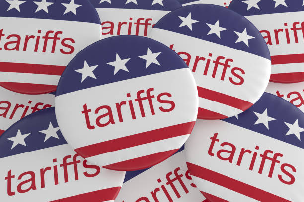 USA Politics News Badges: Pile of Tariffs Buttons With US Flag, 3d illustration stock photo