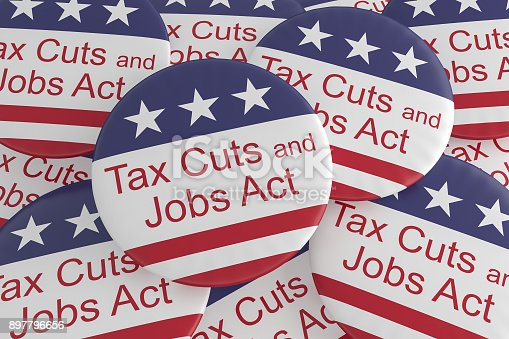 istock USA Politics News Badges: Pile of Tax Cuts And Jobs Act Buttons With US Flag, 3d illustration 897796656