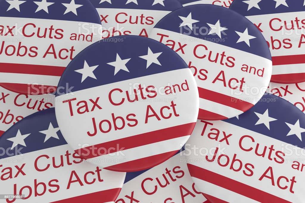 USA Politics News Badges: Pile of Tax Cuts And Jobs Act Buttons With US Flag, 3d illustration vector art illustration