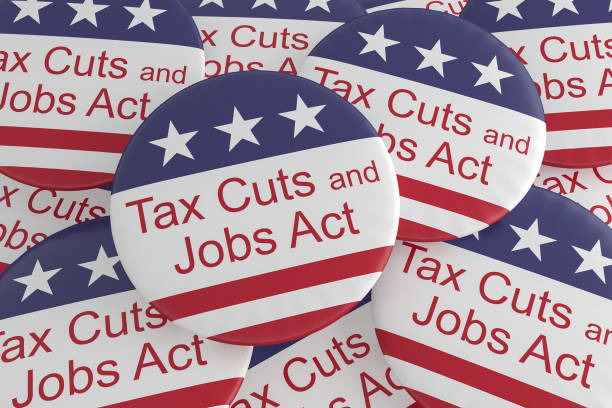 USA Politics News Badges: Pile of Tax Cuts And Jobs Act Buttons With US Flag, 3d illustration stock photo