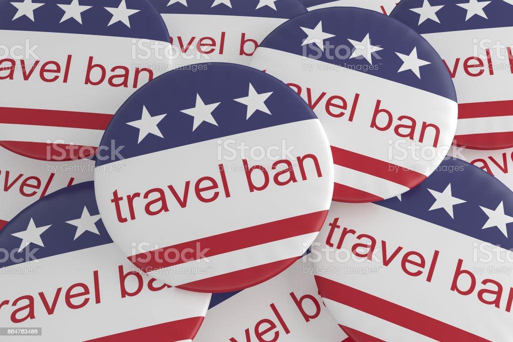 USA Politik News Abzeichen: Haufen Reisen Ban Tasten mit US-Flagge, 3d illustration – Foto