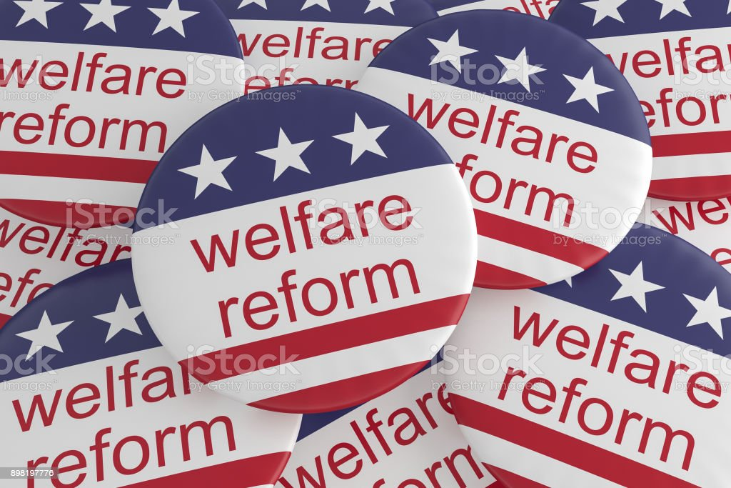 USA Politics News Badges: Pile of Welfare Reform Buttons With US Flag, 3d illustration stock photo