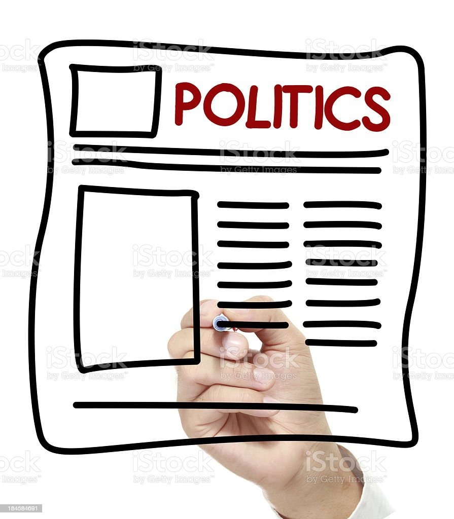 politics News hand drawn on white board royalty-free stock photo
