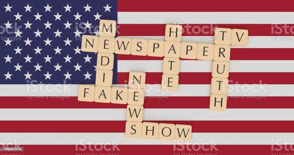 Usapolitiknews Brief Fliesen Fake News Worte Konzept Auf Usflagge 3d