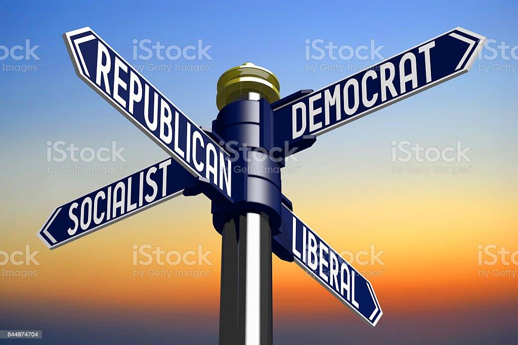 Politics signpost stock photo