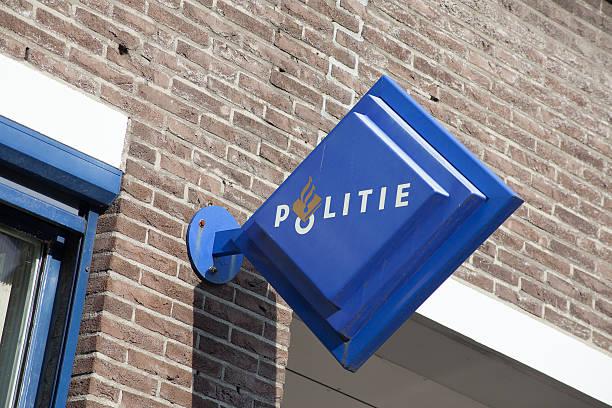 Politie (Police) Sign in central Amsterdam stock photo