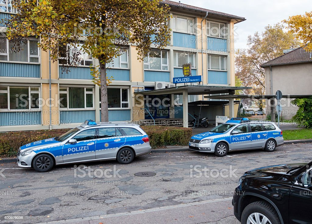 Polizei Police car parked in front of Police station stock photo