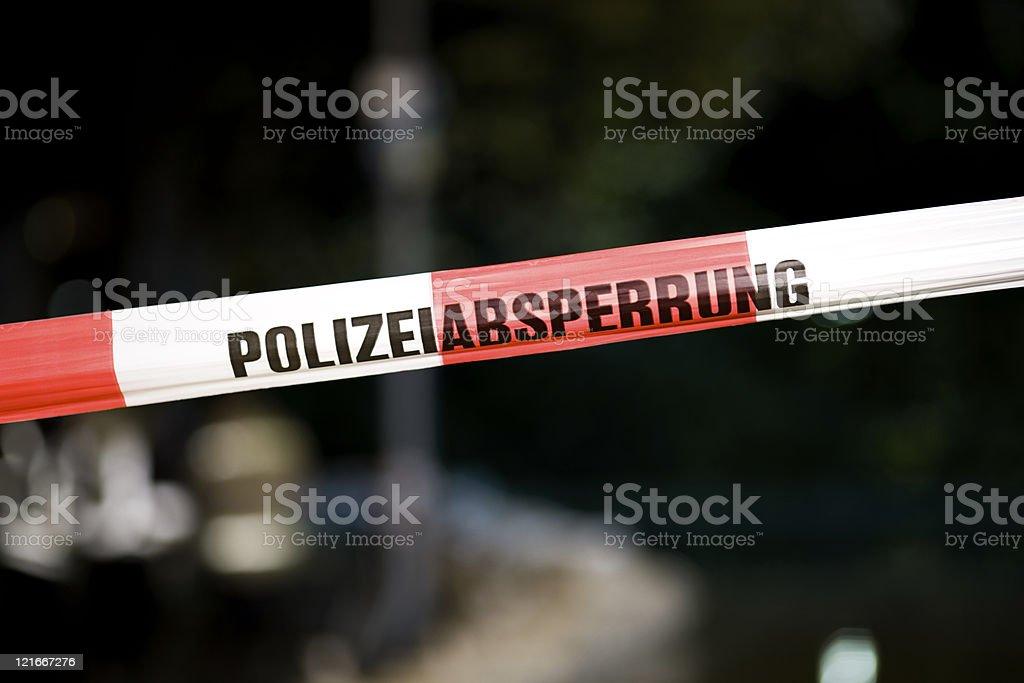 Polizeiabsperrung - police line, do not cross stock photo