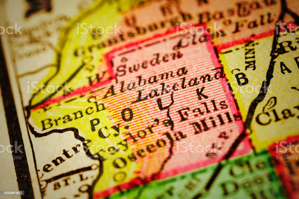 Close up on an antique map of the county of Polk, state of Wisconsin....