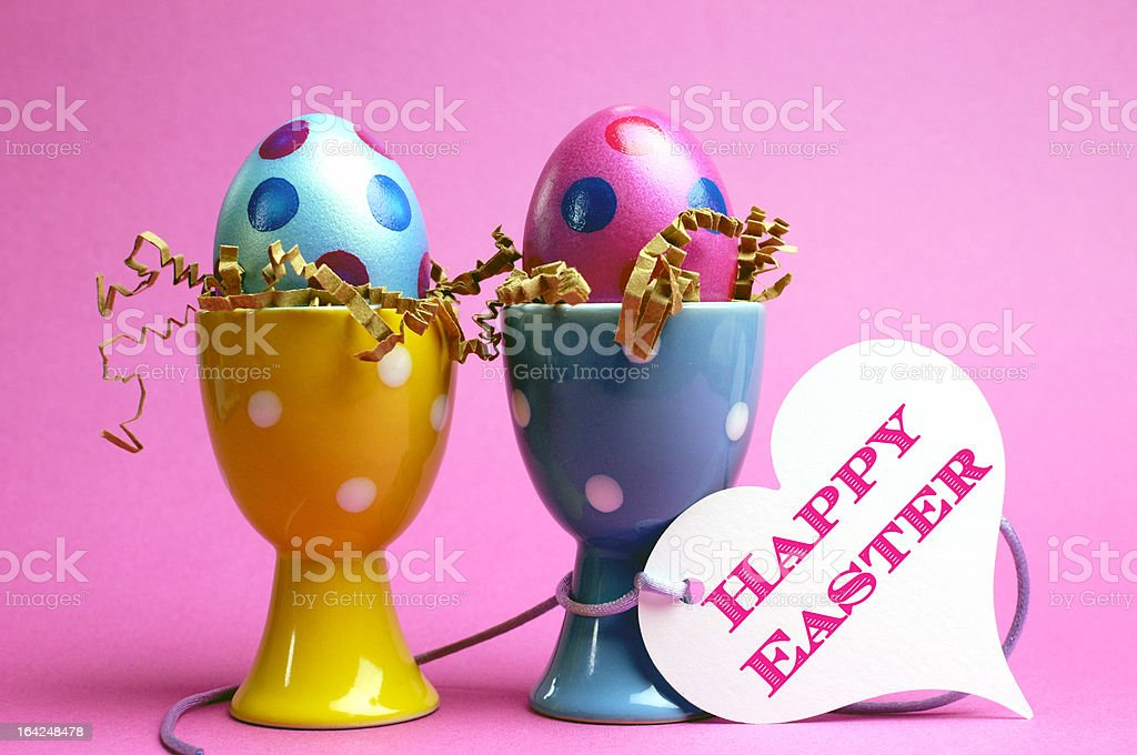 Polka dot colorful eggs with Happy Easter message. royalty-free stock photo