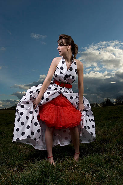 polka dot dress series - petticoat stock pictures, royalty-free photos & images