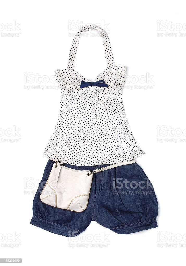 Polka dots empire line styling fashion composition stock photo