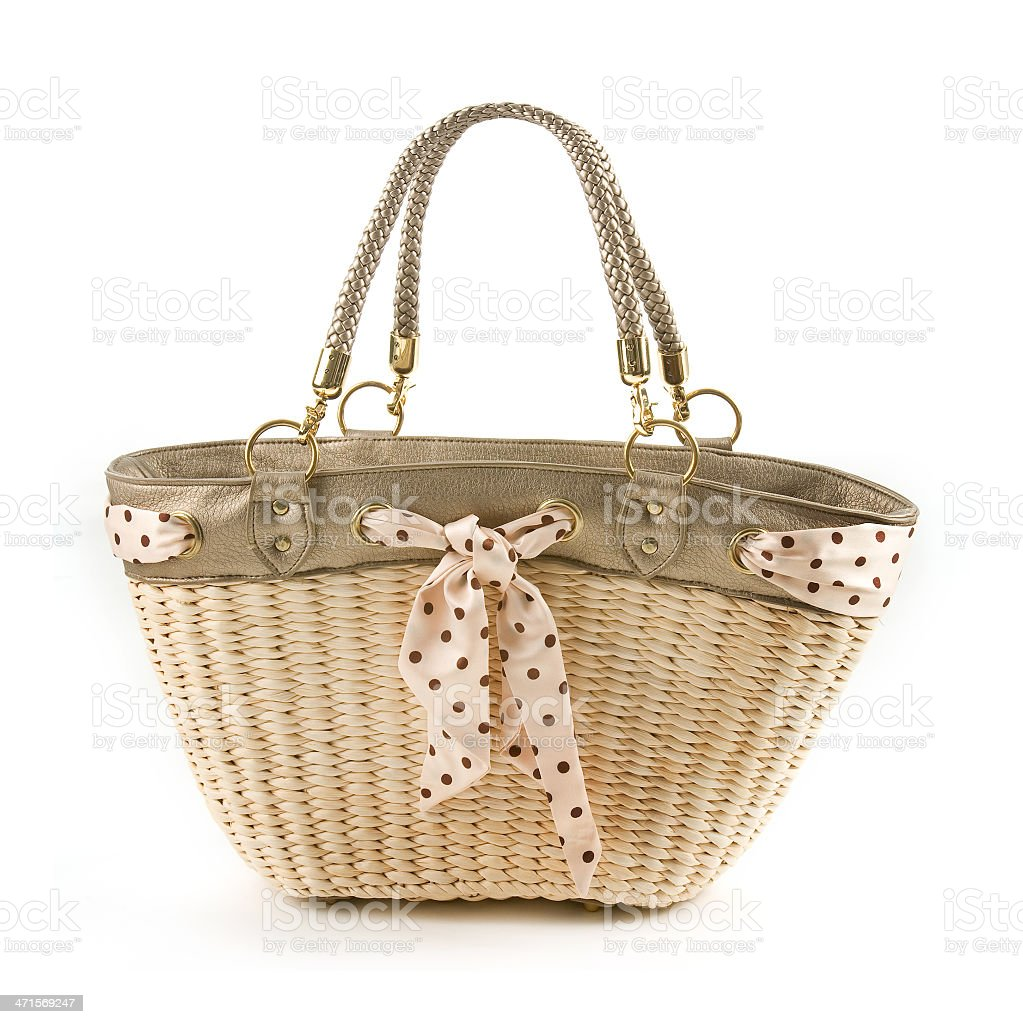 Polka dots vintage belt and leather basket tote stock photo