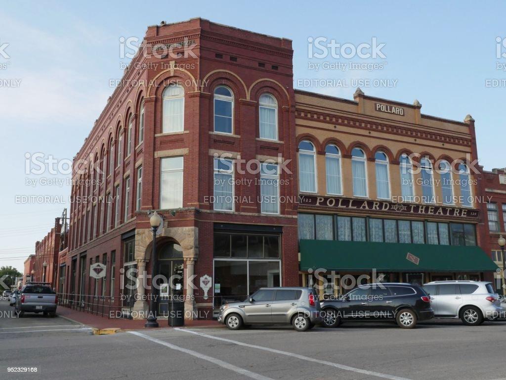 Pollard Theatre, street corner, at the Guthrie Historic District stock photo