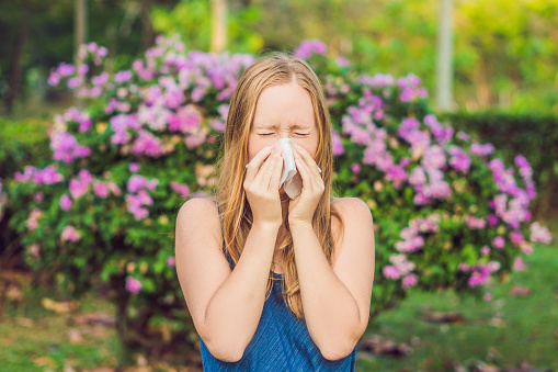 istock Pollen allergy concept. Young woman is going to sneeze. Flowering trees in background 1015301498