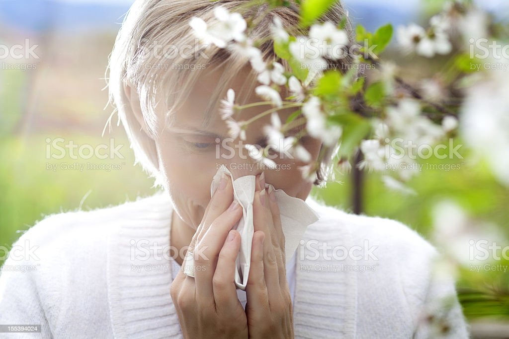 Pollen allergy stock photo