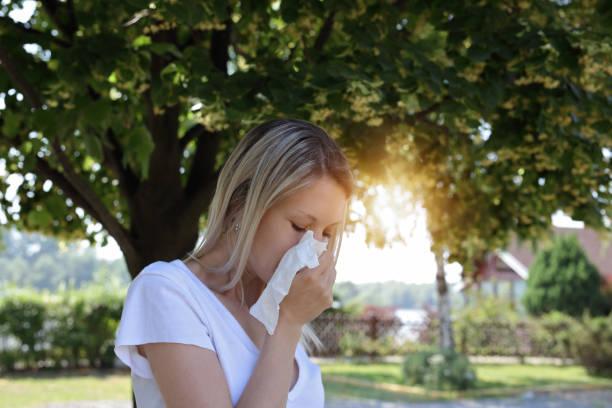 pollenallergie. frau niesen in einem gewebe im freien - heuschnupfen stock-fotos und bilder