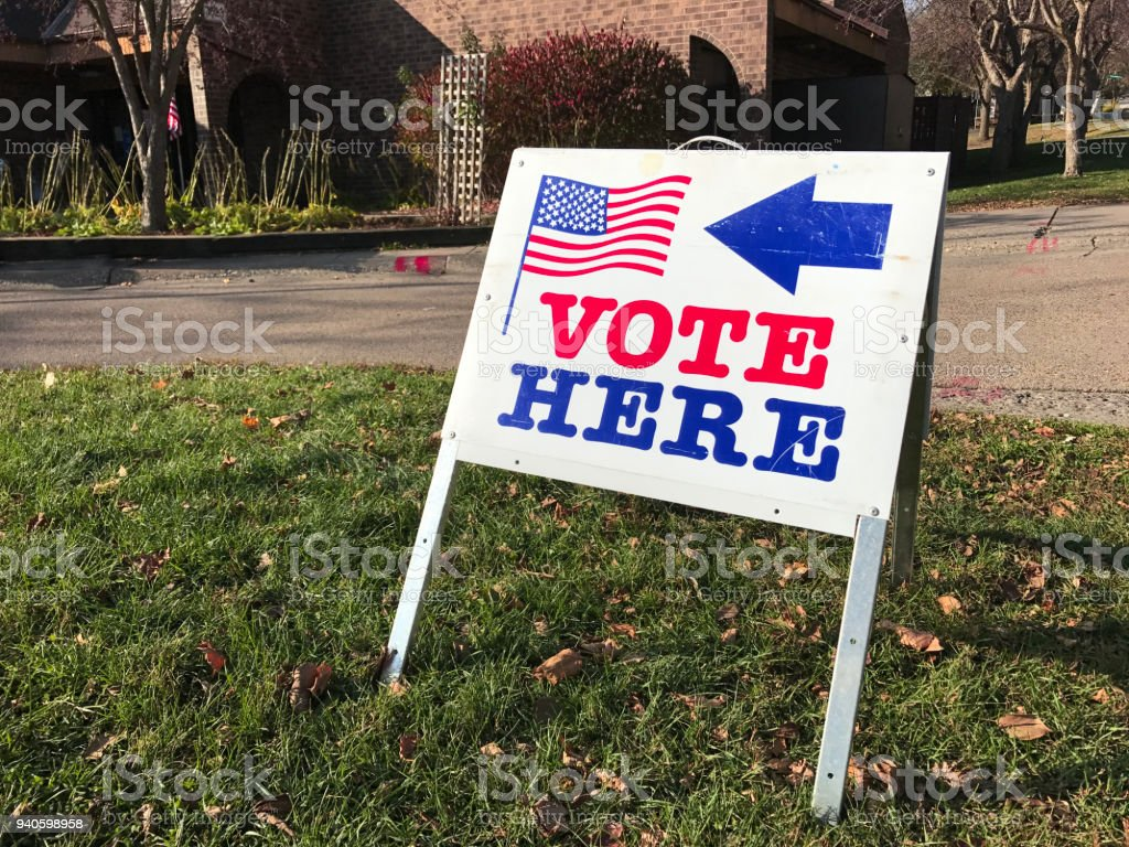 Polling Place for Voting in United States stock photo