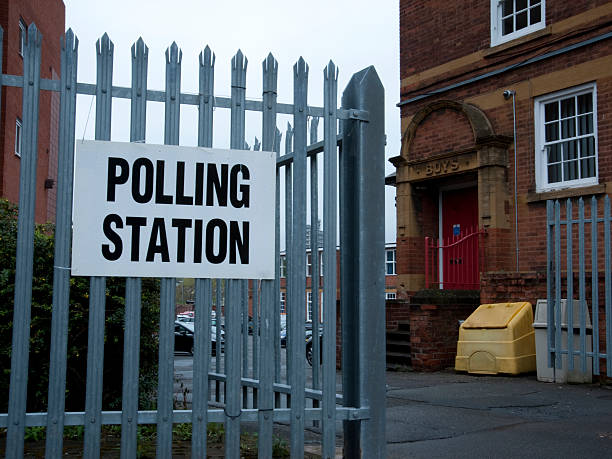 Polling Station at Old School stock photo