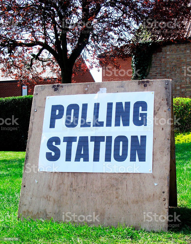 Polling Station Sign royalty-free stock photo