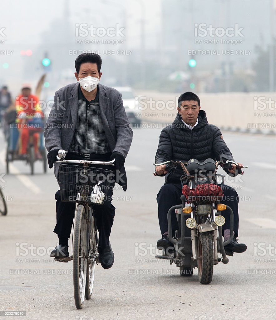 Polluted day in Beijing, China stock photo