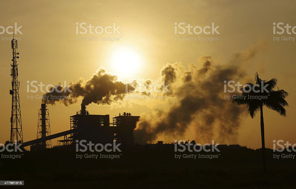 Polluted environment from factory in industrial zone stock photo