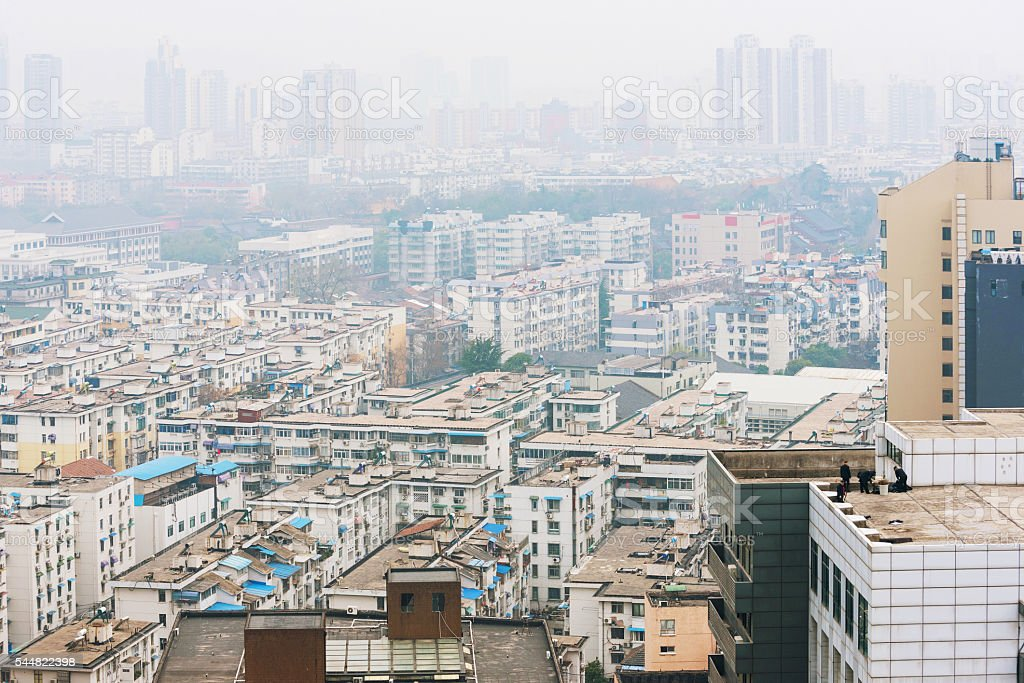 Polluted landscape of Nanjing stock photo