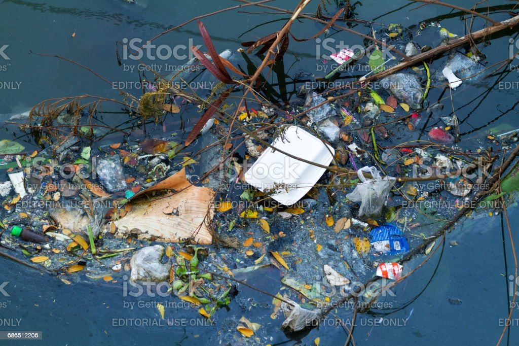 Polluted river Ladprao in Bangkok zbiór zdjęć royalty-free