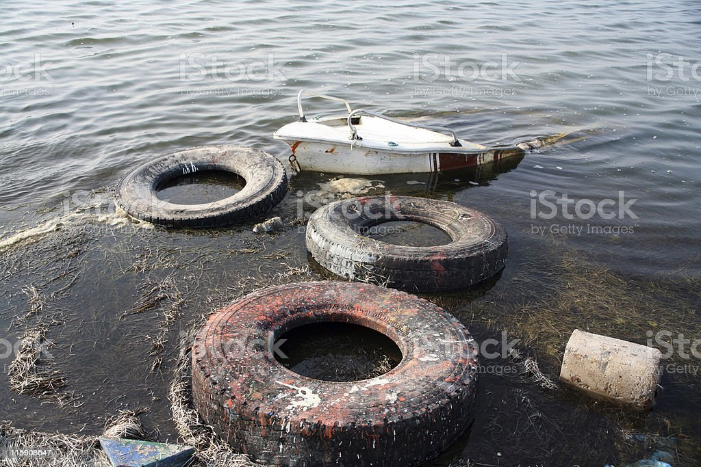 Polluted sea royalty-free stock photo