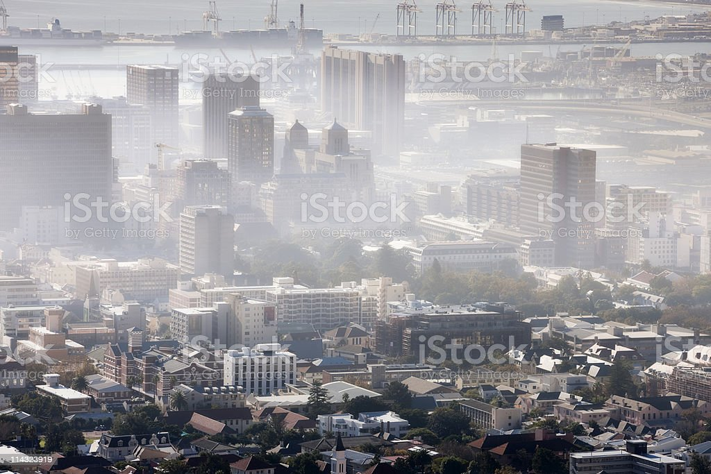 Polluted smog city stock photo