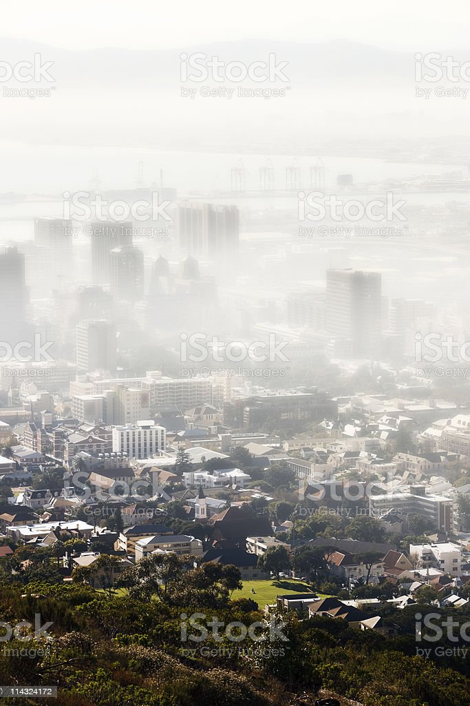 Polluted smog city royalty-free stock photo