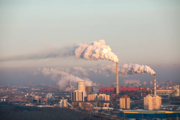 polluted Ulaanbaatar pollution over city of Ulaanbaatar smog stock pictures, royalty-free photos & images