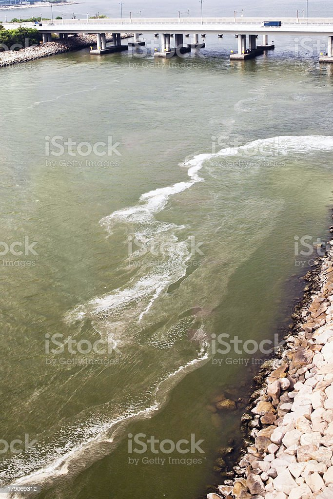 polluted waters of river royalty-free stock photo