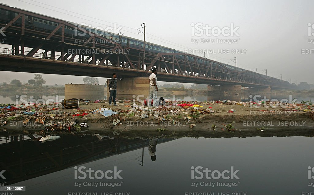 Polluted Yamuna river stock photo